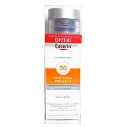 Eucerin - Sun-Crème Visage SPF50+ - Sensitive Protect - 50ml + Offert Hyalluron Filler 20ml