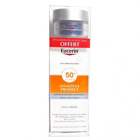 Eucerin - Sun-Crème Visage SPF50+ - Sensitive Protect - 50ml + Offer Hyalluron Filler 20ml