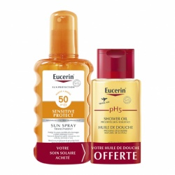 Eucerin - Sun Spray Transparent Corps SPF50 Sensitive Protect - 200ml + Huile de Douhe 100ml