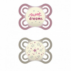 MAM - 2 Sucettes Perfect Nuit Rose/Blanc 0-6 Mois Silicone