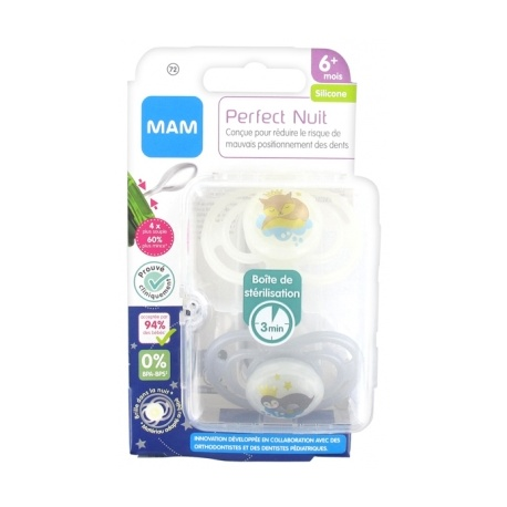MAM - 2 Sucettes Perfect Nuit Gris/Blanc +6 Mois Silicone